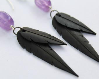 Faux Feather Earrings | Recycled Bike Tire Tubes | Amethyst Beads