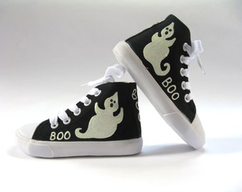 Halloween Ghost Shoes, Black Hi Top Sneakers, Halloween Outfit or Costume, Hand Painted for Baby and Toddler