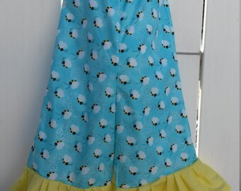 Size 2 Blue and Yellow Bumble Bees Capri Pants Ruffled Romper  READY to SHIP