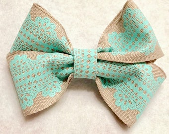 Girly Turquoise Lace Hair Bow
