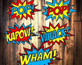 Super Hero Birthday party, Superhero Signs, Printable party decorations, Word bubbles - Power Bursts, INSTANT DOWNLOAD