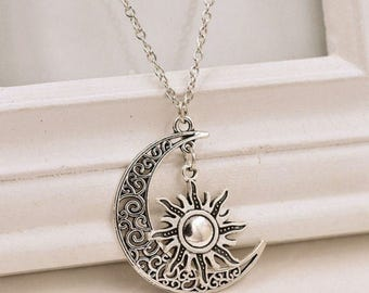 Crescent Sun and Moon Pendant Necklace