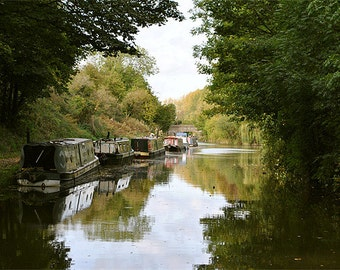 Narrowboats on The Tring Cutting - photographic art print