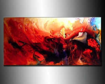 Contemporary Abstract Painting ,Original Modern Red Abstract Fine Art By Henry Parsinia Large 48x24