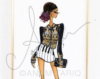 """Fashion Illustration Print, Dolce & Gabbana, 8x10"""""""