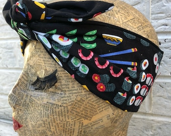 Sushi Retro Headscarf Rockabilly Pinup 1950's  inspired