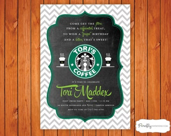 Starbucks Coffee Birthday Party Invitation