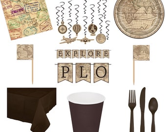Around the World Explorer Party in a Box - Party Separates - Decorations - Explorer Full Set fnt