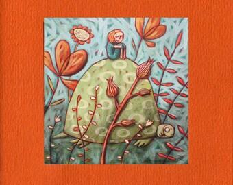 "Square illustrated postcard ""turtle dream"""
