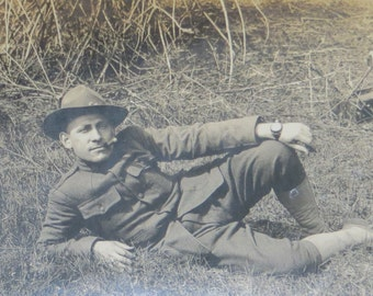 Vintage World War I Era 1910's US Army Doughboy Soldier Takes a Break Photo - Free Shipping