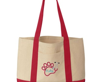 Paw Stethoscope Vet Canvas Tote Bag - Monogrammed. Embroidered Paw Stethoscope Tote. Vet Gift. Vet Tech Gift. 8869