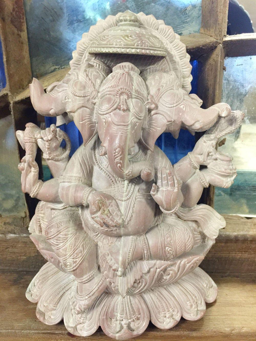 Vintage handcarved lord ganesha stone statue sculpture yoga