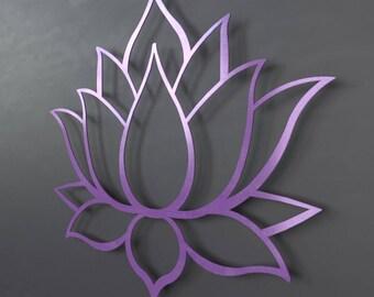 Purple Lotus Flower Metal Wall Art, Lotus Metal Art, Home Decor, Meditation Room Decor, Spiritual Wall Art, Purple Wall Art, Yoga Wall Decor