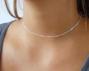 Delicate Silver Choker, Sterling Silver Collar Necklace, Choker Necklace, Layering Necklace, Minimal Silver Necklace, #308
