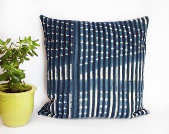 "Oversized Indigo Pillow Cover - West African Indigo - Vintage - Burkina Faso - 24"" x 24""  -  Accent Pillow - Down Pillow Optional"
