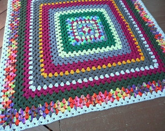 Crochet Granny Square Blanket. Boho Hippie Rustic Gypsy Fall Festival Lawn Throw Lap Blanket. Hodge Podge Colors. Baby Blanket. Sofa Afghan