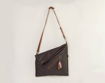 Folder over bag, oversized foldover bag, diagonal foldover purse, leather folder over, chocolate brown leather bag, school tote bag