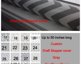 Draught excluder COVER, door draft stopper, custom  dodger, grey door snake, gray door draft stopper, wind blocker, window snake