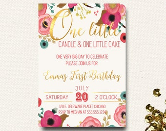 First Birthday Invitation Floral Boho Chic Invite One Little Candle Floral Crown Gold Girls Poppy