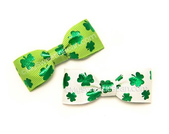 Shamrock Baby Bow, Irish Bow, Children Holiday, Clover Bow for Baby Girls, Emerald Green Clover, Shamrock Bow, Baby Toddler Girls