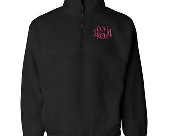 Monogrammed Fleece Quarter Zip Pullover With Pockets.  Monogram Quarter Zip Sweatshirt. SS-3051