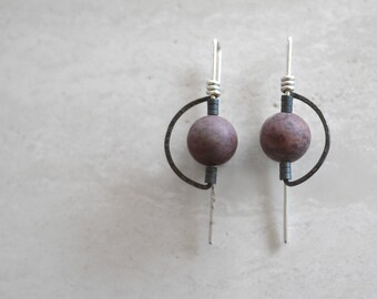 Deco Style Silver Half Moon Earrings with Crazy Horse Beads and Hematite