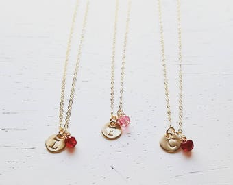 Daughter Gift - Gold Initial & Birthstone Necklace - tiny gold filled disc small dot circle round personalized charm hand stamped jewelry