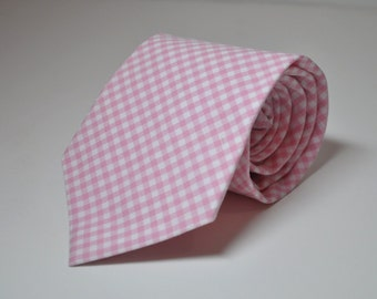 Pink Gingham Mens Necktie