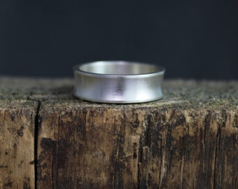 Sterling Silver Concave Band, Simple 6mm Wide Silver Band, Brushed Silver Band, Stacking Silver Band, Ready to Ship Size 5-8