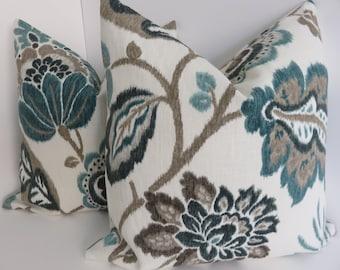 P/Kaufmann Fabrics- Kazoo Gren Blue Brown Ivory Pillow Covers- Bazoo Amber Floral Pillow Covers- Accent Pillows - Home Decor-