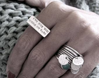 Hand stamped rectangle sterling silver ring ,Stamped bar ring, I've got you under my skin, size 7