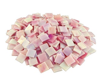 "48 - 3/4""  Pink Iridized Stained Glass Mosaic Tiles"