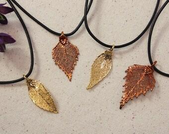 SALE Leaf Necklace, Real Leaf Necklace, Gold Leaf, CopperLeaves, Christmas Gift, Holiday, Gift Set, Teacher Gift, Bookmark, SALE217
