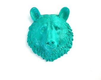 TEAL, Small Faux Taxidermy, Bear Animal Head wall mount, Bear Head, Teal Animal Head, Mini Animal Head, Faux Taxidermy, Small Bear, Kids