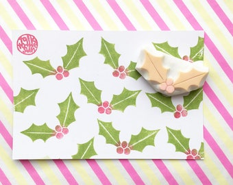 holly leaf rubber stamp | christmas leaf stamp. | diy christmas card making | gift wrapping | holiday crafts | hand carved by talktothesun