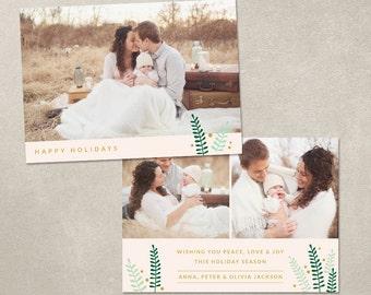 Digital Photoshop Christmas Card Template for photographers PSD Flat card - Holiday Leaves CC046