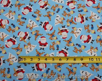 Rudolph Red Nose Reinder Christmas Cartoon Santa Blue BY YARDS QT Cotton Fabric