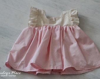 Baby Girl and Toddler Girl Sweet Romance Clarissa Tunic Top, Babydoll Girls Toddler Top, Girls Vintage Top, Toddler Tunic, Pink and Cream