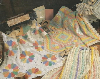 Vintage 1996 Annies Attic Pastels on Parade Crochet Baby Blankets