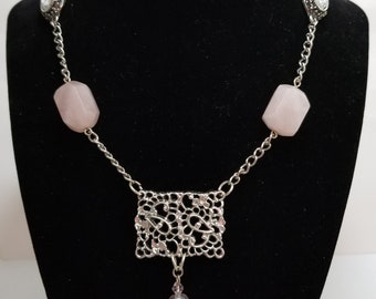 Silver, Pink and Crystal Vintage Repurposed Necklace, OOAK Handmade