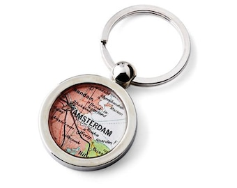 Amsterdam Map Key Ring Fob Chain