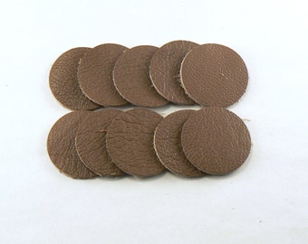 """1"""" Nut Brown Leather Circles - 10 Die Cut Leather Circles - Leather Circle Appliques -  Leather Disks - Craft Leather Circles"""
