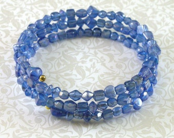 SALE Beaded Memory Wire Bangle Bracelet - Luster Blue