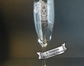 Bride Sugar Skull Engraved Champagne Flute, Ladies Sugar Skull, Floral Sugar Skull, Day of the Dead, Dia de Los Muertos, Wedding Gift