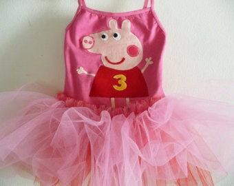 Peppa Pig inspired Leotard Tutu- Peppa Pig Tutu-Peppa Pig Dress-Peppa Pig Birthday Party
