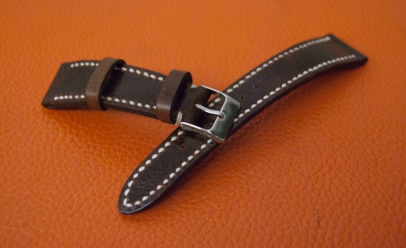 Handmade Leather watch strap | Vintage Brown Leather watch band | Handmade leather watch band | Vintage leather watch strap for Rolex - 20mm