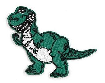 Dinosaur Iron on Applique, Green Dinosaur Iron on Patch, Prehisoric Iron-on Application