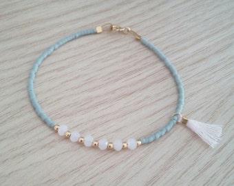 Tassel bracelet, gold bracelet, multicolor bracelet, gift jewelry,