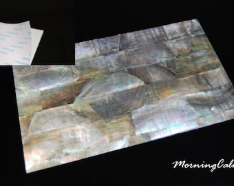 Black Mother-of-Pearl Coated Adhesive Veneer Sheet (MOP Shell Overlay Inlay Luthier Nacre Craft)