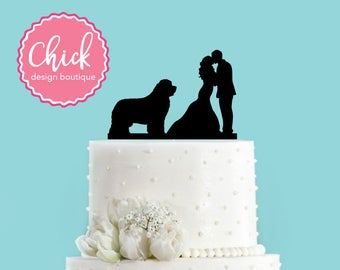 Couple Kissing with Newfoundland Acrylic Wedding Dog Cake Topper